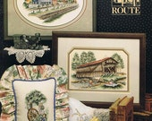 Scenic Route Country Scenes Covered Bridge Wagon Wheel Meadow Railroad Tracks Counted Cross Stitch Embroidery Craft Pattern Leaflet Book 83