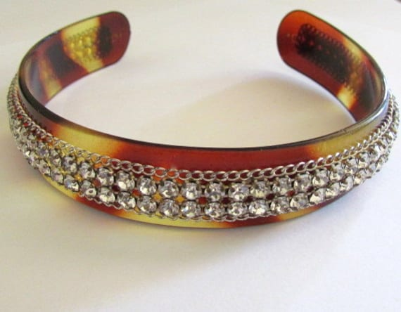 This item is reserved.......Vintage Faux Tortoise And Rhinestone Head Band