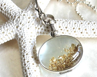 Sands of Time - Shake Necklace - Sterling Silver and Gold Flakes - Small Pendant - THE ORIGINAL