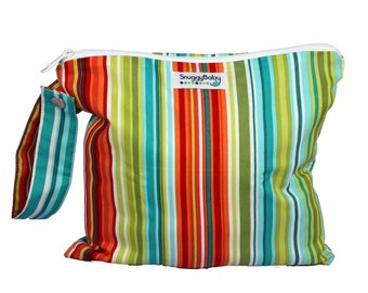 Wet Bag w/ Indestructible PUL - Caribbean Stripe- For Cloth Diapers, Potty Training, Mama Cloth Pads, Beach Bag, Travel Bag, etc.