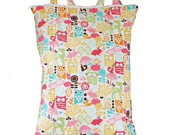 Wet Bag Hanging Diaper Pail Laundry Bag - Woodland Owls - FAST SHIPPING