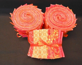 Tangerine Orange Jelly Roll Quilt Fabric Strips - SEW FUN QUILTS Time Saver Quilt Kit