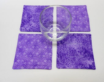Lavender Quilted Fabric Coasters Set Reversible  by SEW FUN QUILTS