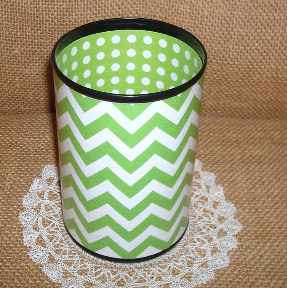 Lime and White Chevron Decorative Can Pencil Holder No. 198