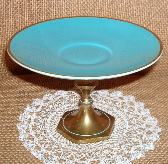 Jewelry Soap Vanity Candle Holder Vintage Teal Turquoise Saucer Plate Pedestal No. 095 (5 x 3-1/4 inches)