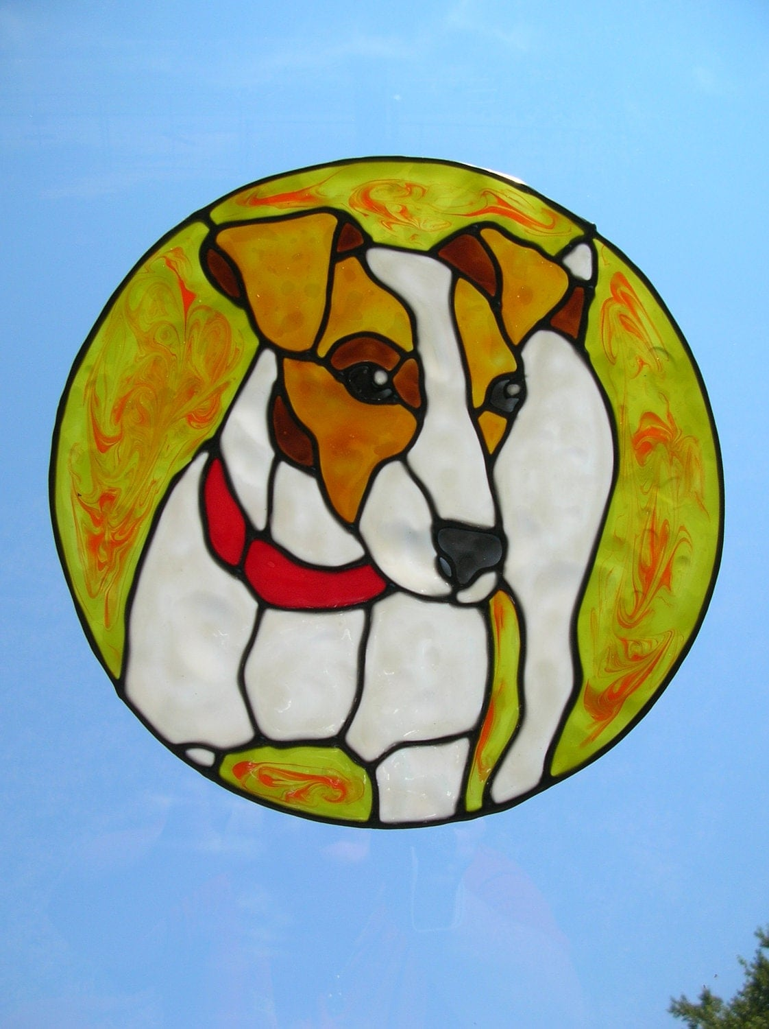 Jack Russell Dog With Red Collar Stained Glass Window Cling 8