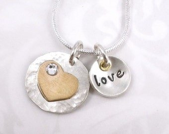 Hand Stamped Necklace - Sterling silver with gold heart