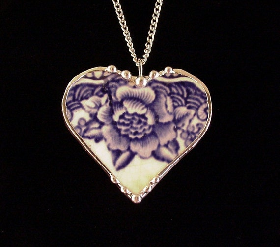 Broken china jewelry heart pendant necklace antique blue English transferware rose made from a broken plate