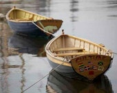 nautical art, 2 wooden boats, wall art, blue, weather worn, 8x12 fine art photograph