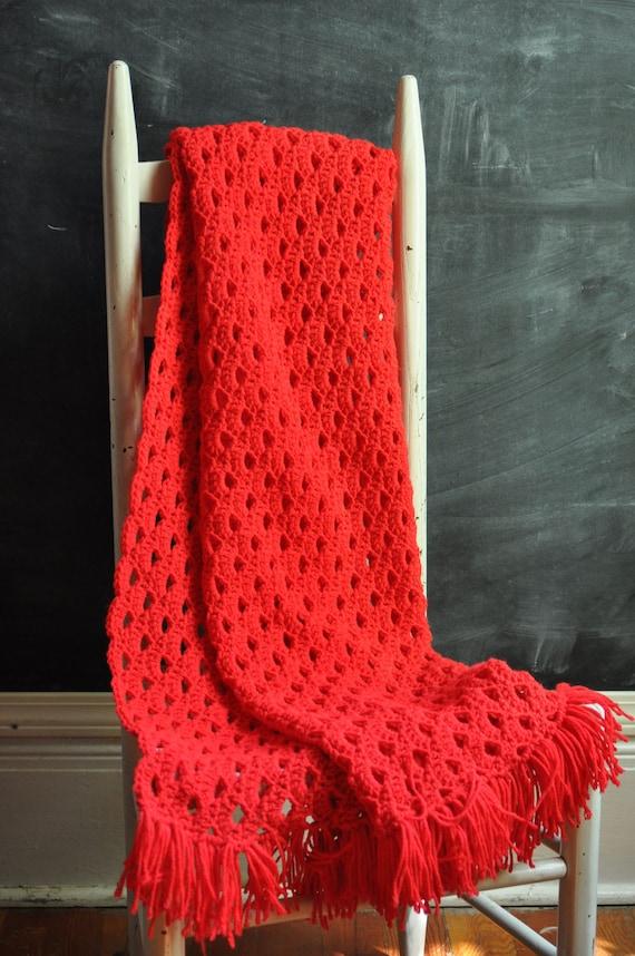 Vintage Afghan Blanket Bright  Red Crochet Throw