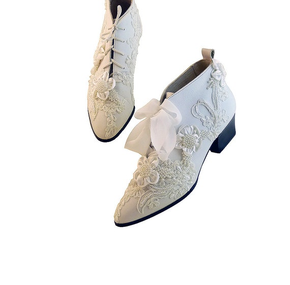 Wedding Shoes Vintage Inspired Ankle Boots White Leather and Lace w Pearls // Size 10 US //  Opulence Fantasy