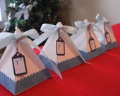 Mini Christmas Tree Gift Box with tag - Snowman - Snowflake (set of 4)