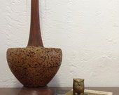 Large Spectacular Mid Mod Century Rounded Cork Lamp.. Table Lamp.. 1960s