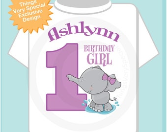 Personalized FIrst Birthday Elephant Tee Shirt or Onesie, 1st Birthday Elephant tee, Safari Theme, Any Age (09082012c)