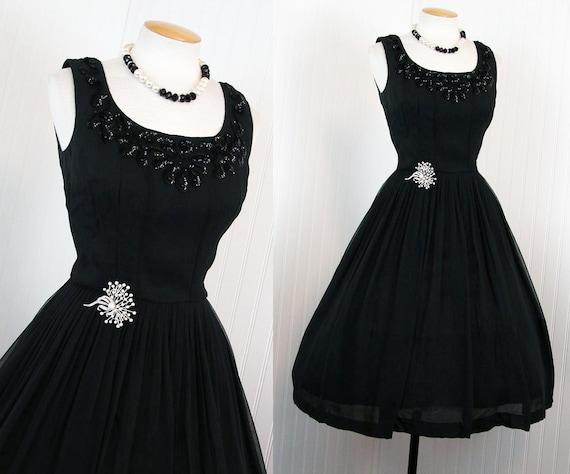 1950s Dress - Vintage 50s Designer Black Chiffon Ballerina Mad Men Cocktail Party Dress w Sequins S - The Jet Setter