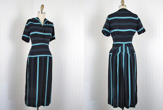 1940s Dress - Vintage 40s Turquoise Deco Print Crepe Rayon Day Party Dress XS - Tiny Bubbles