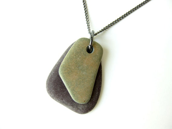 Natural Stone Necklace - Zen rock necklace - natural stone jewelry - Olive green on Deep Eggplant - 954