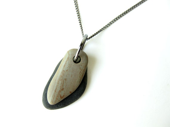 Beach stone necklace handmade from real stones.  Mauve grey on black - 941