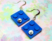 Blue Geek Chic Earrings in Blue made from LEGO (r) Pieces and Swarovski Crystals