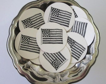American Flag Tags Round Gift Tags Set of 10
