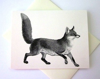 Fox Note Card Set of 10 in White or Light Ivory with Matching Envelopes