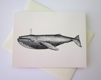 Whale Note Card Set of 10 in White or Light Ivory with Matching Envelopes