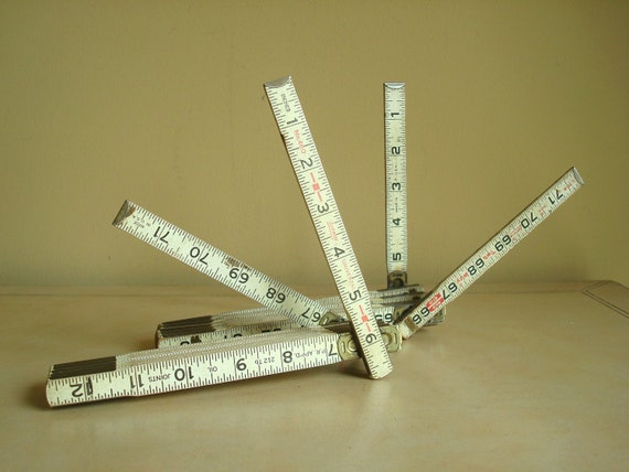 2 Lufkin expanding rulers, carpenters yardsticks, vintage pair