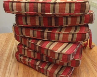 "One Chair Seat Cushion with ties, 18.5"" x 17.5"" x 2"", Custom, includes foam,double piping,batting,ties and zipper. Made to Order."