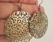 Round Antiqued Brass Filigree Earrings, Brass Earrings