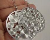 Silver Disco Earrings, Silver Earrings, Medallion Earrings