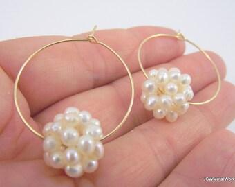 Pearl Cluster Gold Hoop Earrings, White Pearl Earrings