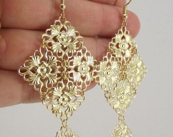 Medium Gold Chandelier Earrings, Gold Earrings