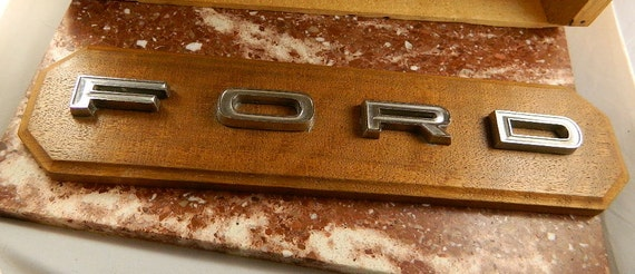 Vintage Walnut Plaque with 1966 Ford Letters: In Memory of Blue Bird 1966-1980 May She Rust in Peace