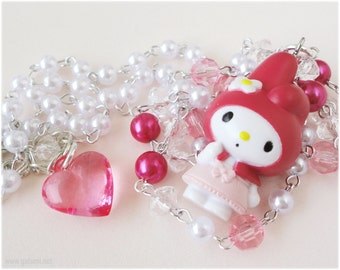 My Melody Necklace, Long Beaded White and Pink Chain with Figure Pendant in Silver - Kawaii, Sweet Lolita