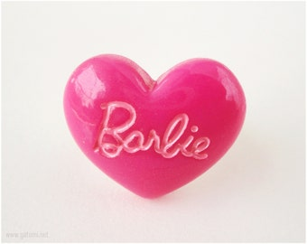 Fuschia Barbie Ring, Adjustable Heart Ring, Silver Plated - Gyaru, Oshare Kei