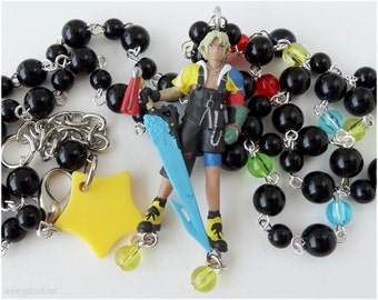 Final Fantasy Tidus Necklace, Beaded Rosary Chain, Silver - FFX, Gamer Jewelry