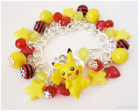 Pikachu Charm Bracelet, Chunky Silver Plated Chain, Yellow Stars, Red Hearts - Pokemon Jewelry