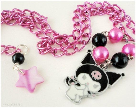Kawaii Kuromi Necklace, Black and Fuschia Beaded Chain in Silver