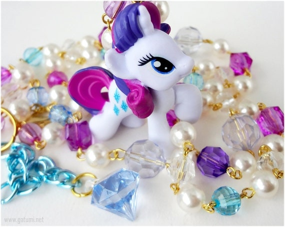 My Little Pony Rarity Necklace, Upcycled Toy Pendant on Beaded Faux Pearl Rosary Chain in Gold - Fairy Kei