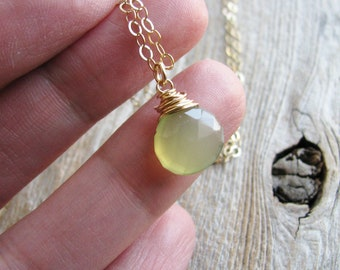 Gem Necklace Chalcedony Briolette Wire Wrapped Faceted Green Chalcedony Briolette 14kt Gold Filled Chain Minimalist