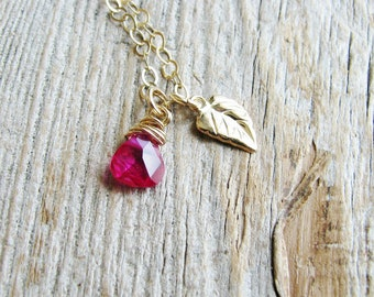 Ruby Leaf Necklace Gold Filled Botanical Jewelry Cubic Zirconia Briolette Gold Leaf 14kt Gold Filled Chain Nature Inspired July Birthday