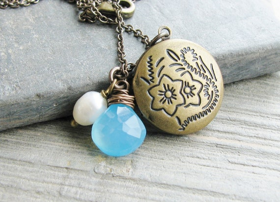 Locket Necklace Sky Blue Chalcedony Briolette Fresh Water Pearl Antique Brass