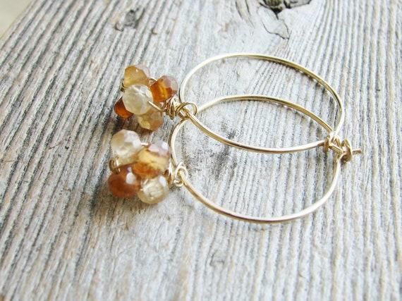 Hessonite Hoop Earrings Gold Filled Jewelry Rondelle Stones Wire Sleeper Hoops Minimalist Modern Fresh Jewelry