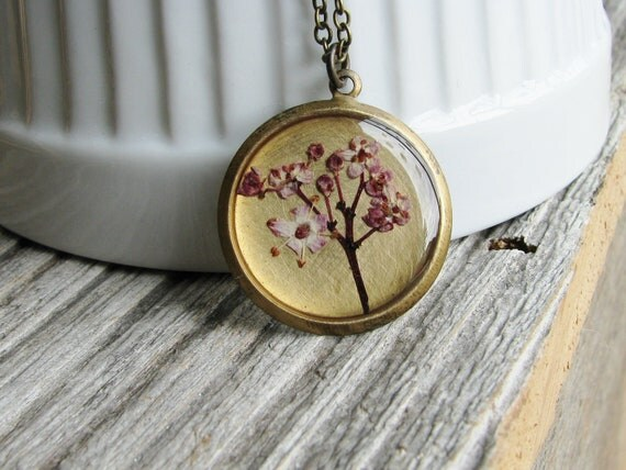 Real Elderberry Flower Necklace Pressed Flowers Botanical Jewelry Nature Inspired Garden Lover Gift