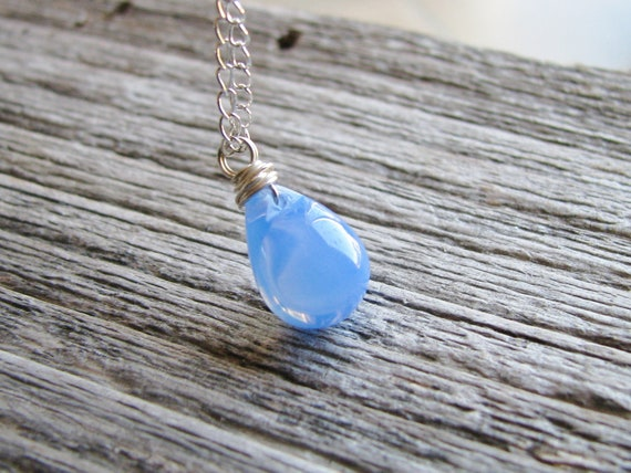 Blue Drop Necklace Silver Chain Necklace Smooth Czech Glass Briolette Wire Wrapped Jewel Minimalist Modern Fresh