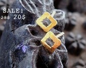 S A L E - Gold Plated Earrings - 24K Gold Plated Square Frame Earrings