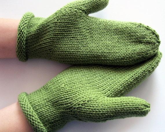 Mittens - hand knit, green, soft wool, warm, womens, handmade,