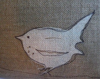 new hand printed new little  acorn brown rustic wren pillow