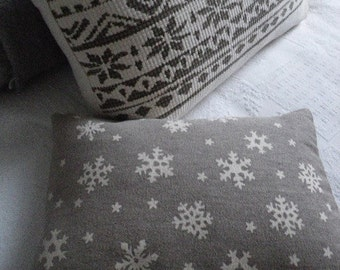hand printed and exclusive snowflake pillow