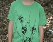 Pandas in a Tree T-Shirt Musical Bliss on American Apparel Grass Green Tee for Children